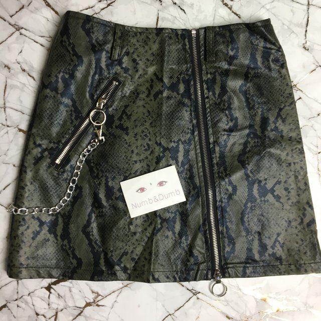 90fa630ec155 Stunning faux leather snakeskin animal print mini skirt • at - Depop