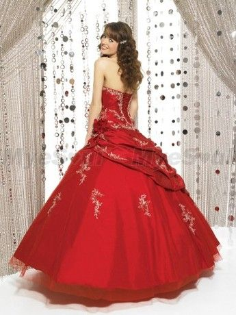 Style Ball-Gown Sweetheart  Lace Sleeveless Floor-length Red Prom Dress / Evening Dress
