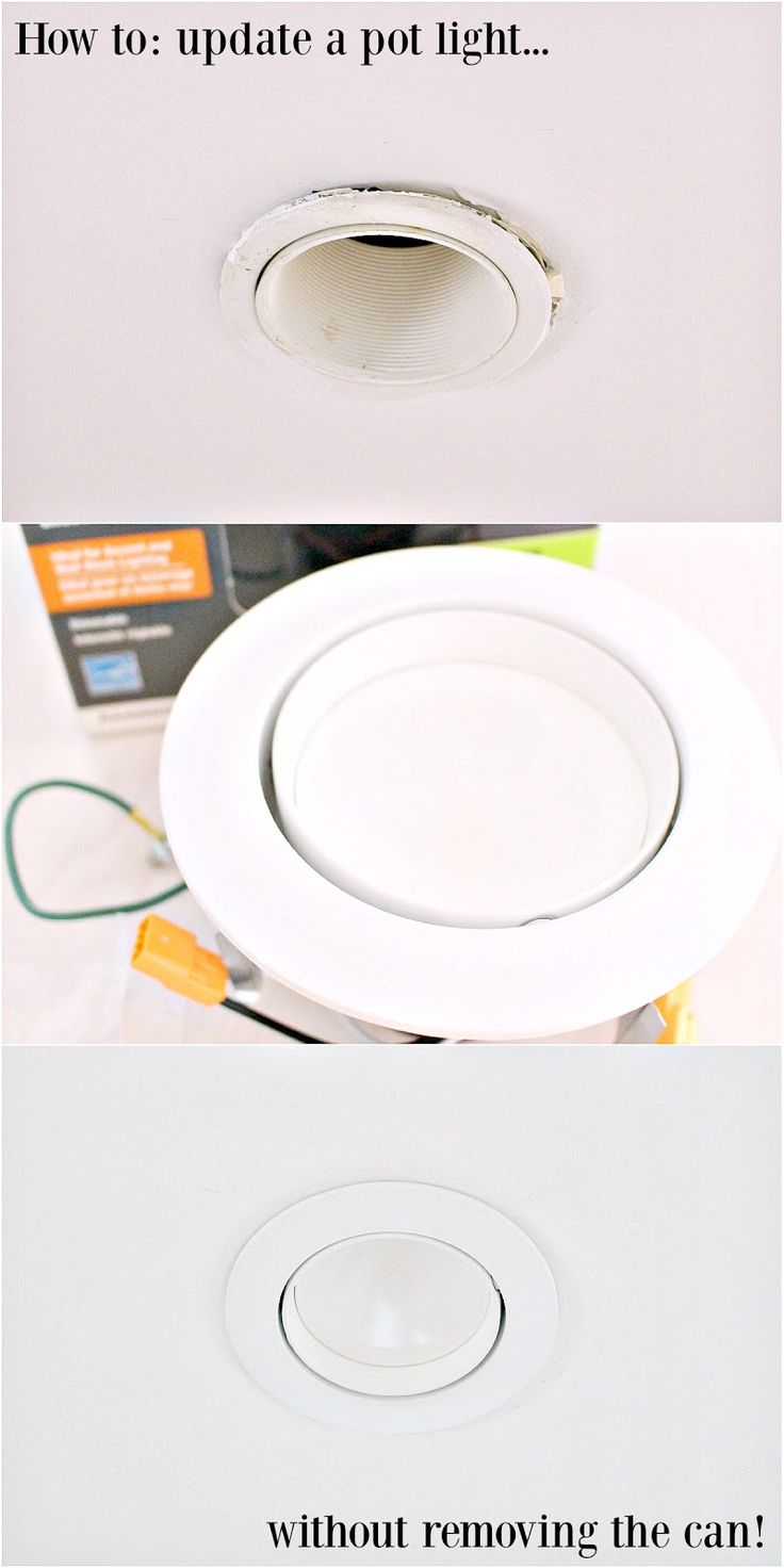 PIN FOR LATER - Don't damage your ceiling when updating and modernizing a pot light or can light! Do it without removing the can - easy renovating hack! How to easily replace pot lights.