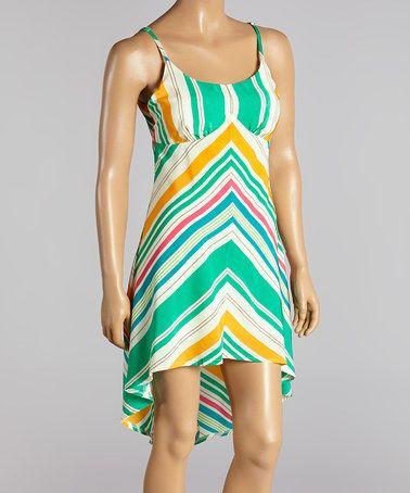Look what I found on #zulily! Green & Orange Chevron Hi-Low Dress by Farinelli #zulilyfinds