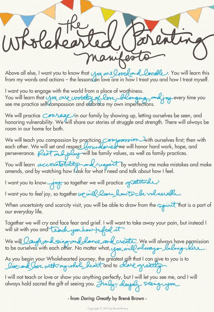 The Whole-Hearted Parenting Manifesto by Brene Brown