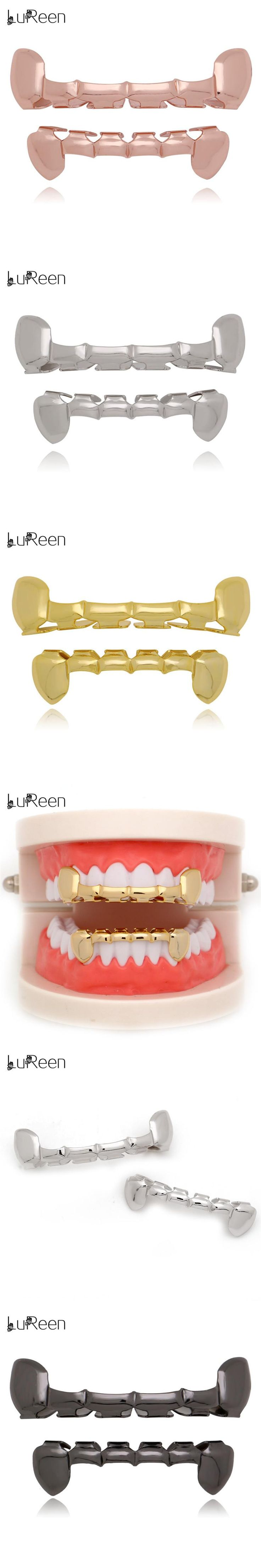 LuReen Hip Hop Gold Teeth Grills Dental Top & Bottom Half Teeth Grills Halloween Vampire Fang Tooth Caps Jewelry Party LD0019
