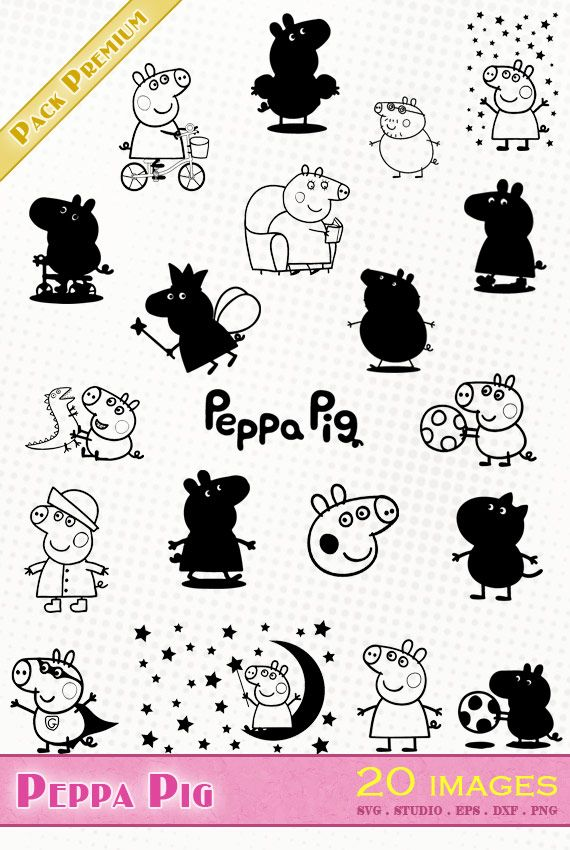 Peppa Pig Fichiers Svg Dxf Silhouette Studio Eps Png Pig Silhouette Peppa Pig Glitter Tattoo Stencils
