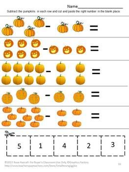 Strong counting skills will help students progress to a strong math foundation. This in turn benefits them as they advance through the grades. Practicing their counting skills with this Counting Fun With Pumpkins Cut and Paste worksheet packet will make it fun. It consists of 14 worksheets as follows; Match the numbers Count the jack-o-lanterns Count the pumpkins Add the Pumpkins Subtract the Pumpkins Pumpkins on the vine