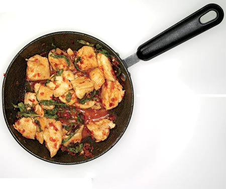 Chili Chicken and Basil    This low-fat dish will set you back fewer than 200 calories and contains almost 28 grams of protein per serving!