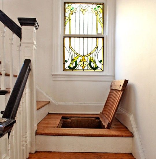 Secret staircase storage.
