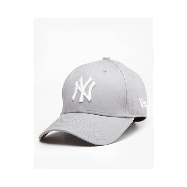 New Era 9Forty MLB New York Yankees Cap Grey/White (30 BRL) ❤ liked on Polyvore featuring accessories, hats, major league baseball caps, gray cap, ny yankees hat, white yankees hat and mlb caps
