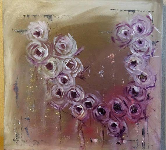 Moderne rozen schilderij olieverf op acryl canvas kado