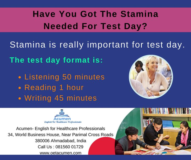 Have you got the stamina needed for test day? #OET #Acumen Don't take your stamina for granted, start preparing for long-distance and success right away!  #Enroll today at our #Baroda and #Ahmedabad Branch Help Line No. 081560 01729 Get More Info @ http://www.oetacumen.com/
