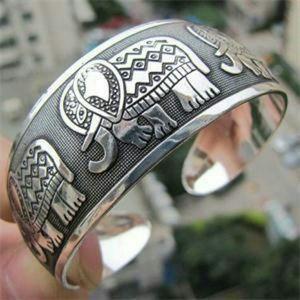 Silver Tibetan Elephant Cuff