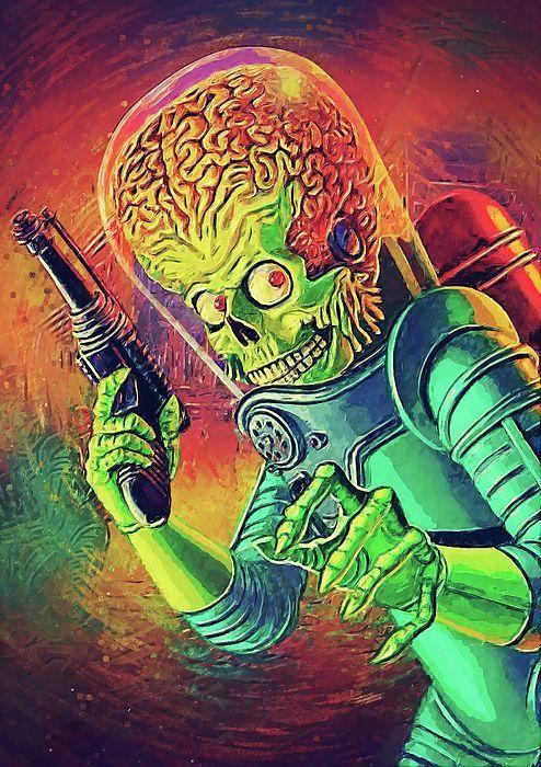 48513661 mars attacks, the martian, illustration, digital painting, tim burton,  comic,