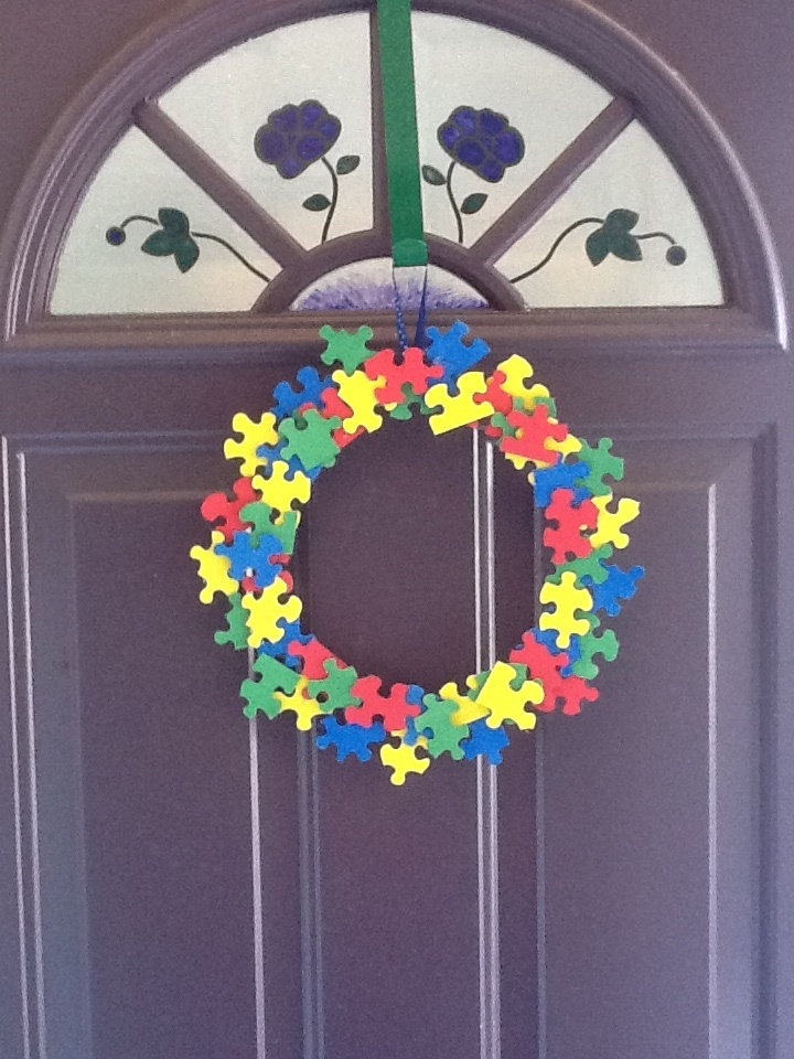 My wreath for Autism Awareness Month.