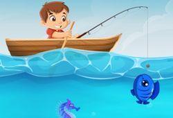 Bienvenido al juego de pesca más divertido de nuestro portal de juegos. En este juego tienes que pescar tantos peces como puedas intentando esquivar a los tiburones que merodean por el arrecife. Lanza bombas a los tiburones para que dejen pescar.