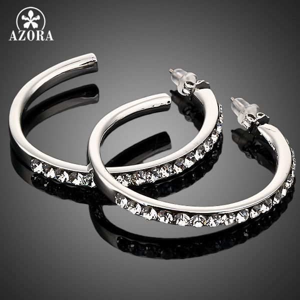 AZORA Platinum Plated Stellux Austrian Crystal Round Design Hoop Earring TE0007