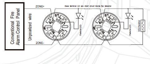 360 degree 2 alarm led light smoke detector for 24V