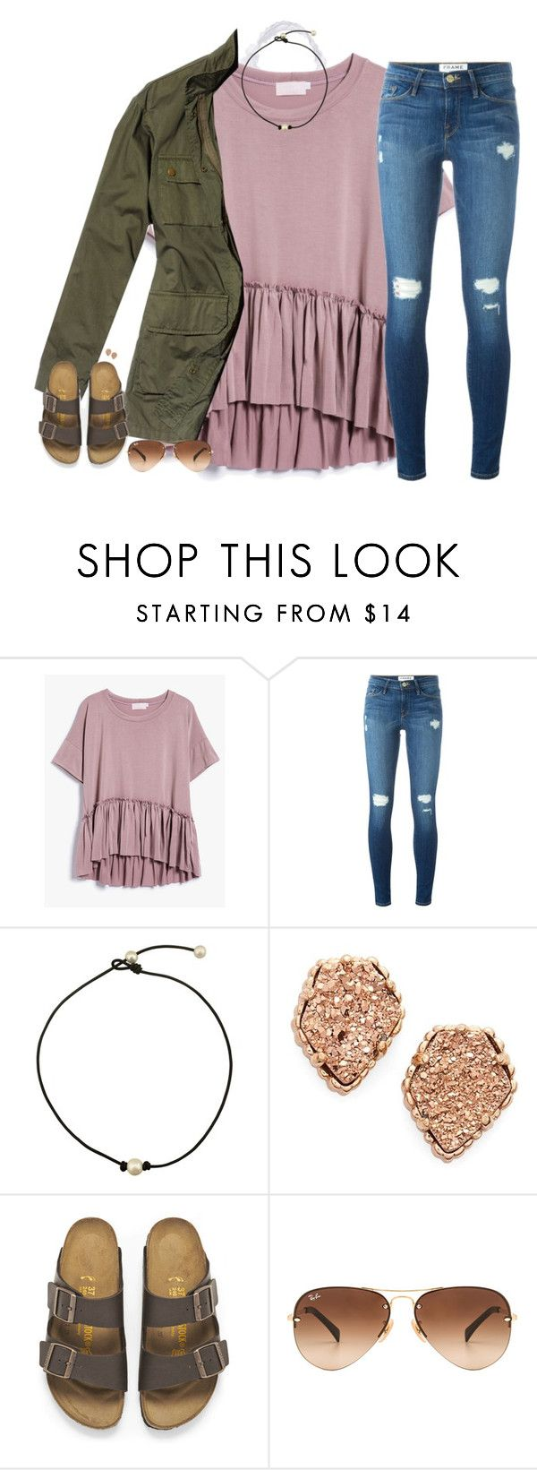 """""""I may be lost...but my hearts the compass"""" by southernstruttin ❤ liked on Polyvore featuring Frame, Kendra Scott, Nili Lotan, Birkenstock and Ray-Ban"""