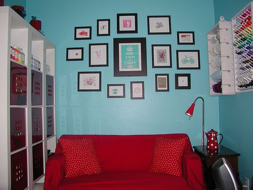 Nice Thinking Of Repainting Our Accent Wall Turquoise To Go With Our Red Couch!