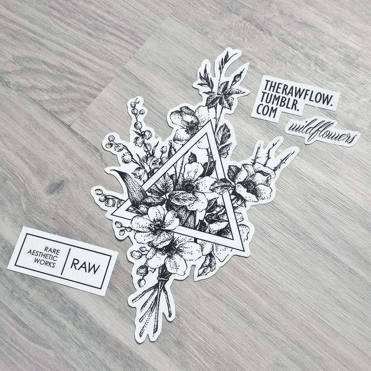 Dotwork wildflowers flower bouquet tattoo design