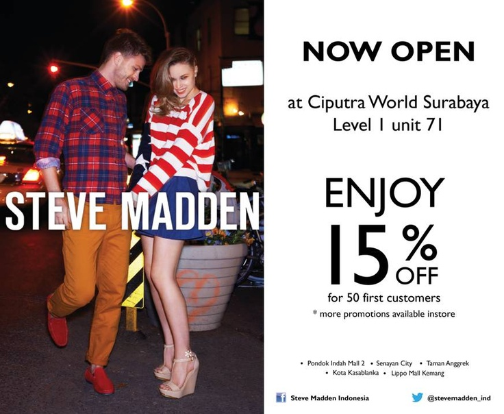 Steve Madden branches out at Ciputra Mall Surabaya! Enjoy 15% off for the  first