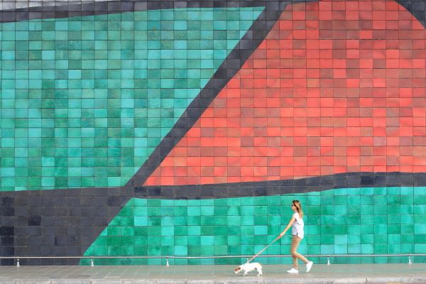 Espagne, Catalogne, Barcelone, aéroport avec fresque de Joan Miró © Ludovic MAISANT