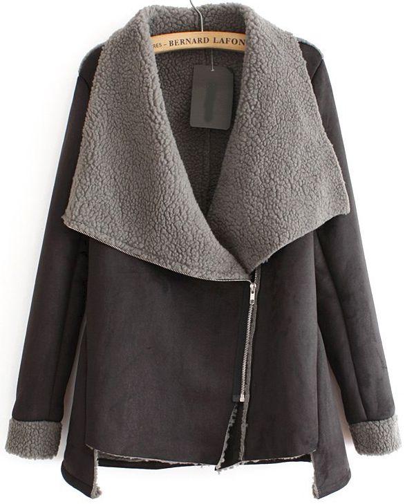 Grey long sleeve oblique zip coat