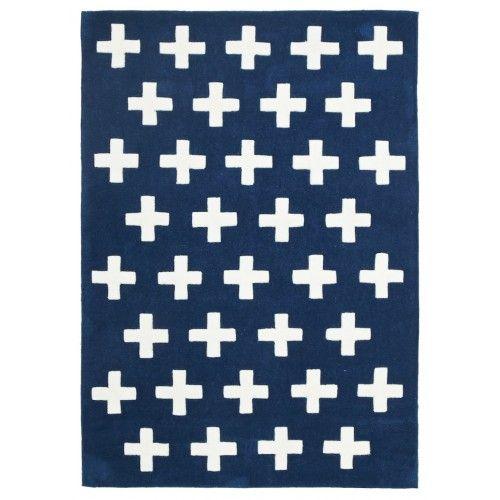 Portobello Crosses Navy Kids Rug