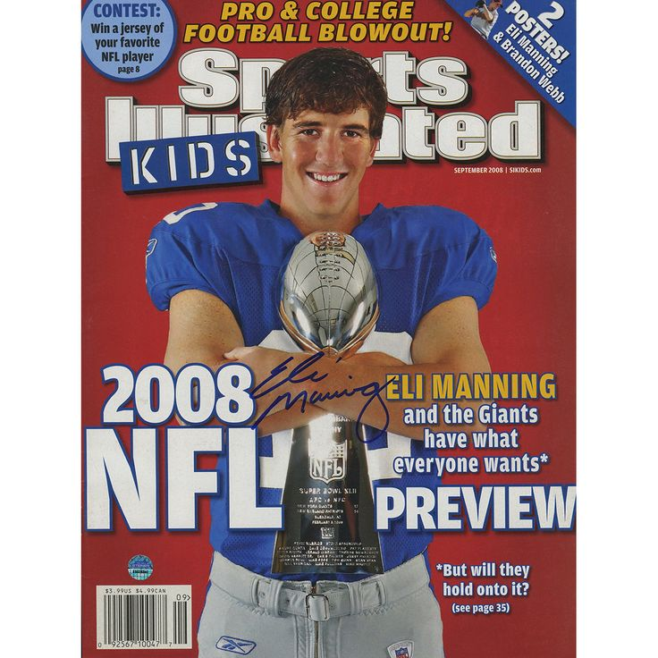 Eli Manning Signed Sports Illustrated September 2008 Magazine for Kids - Football star Eli Manning has personally hand-signed this Sports Illustrated magazine. Steiner Sports is the Official Memorabilia Partner of Eli Manning.100% Guaranteed AuthenticIncludes Steiner Sports Certificate of Authenticity Features Tamper-Evident Steiner HologramPerfect Collectors Item. Gifts > Collectibles > Nfl Memorabilia. Weight: 1.00