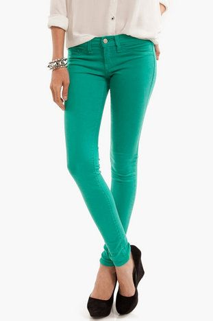 Color Skinny Jeans $30 at www.tobi.com