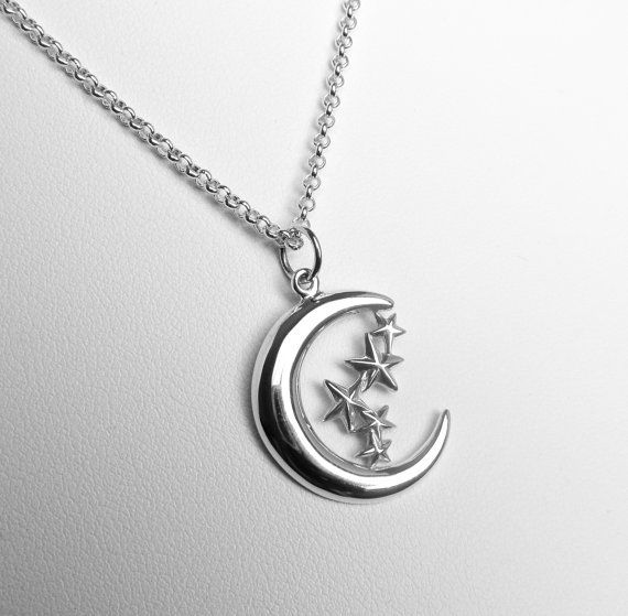 Sterling Silver Crescent Moon and Stars Charm Necklace