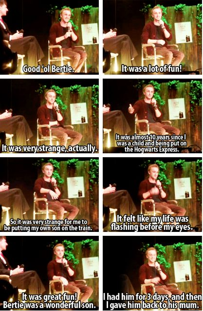 """""""I had him for three days and then I gave him back to his mum."""" Those are the best kind of children. Tom Felton quote."""