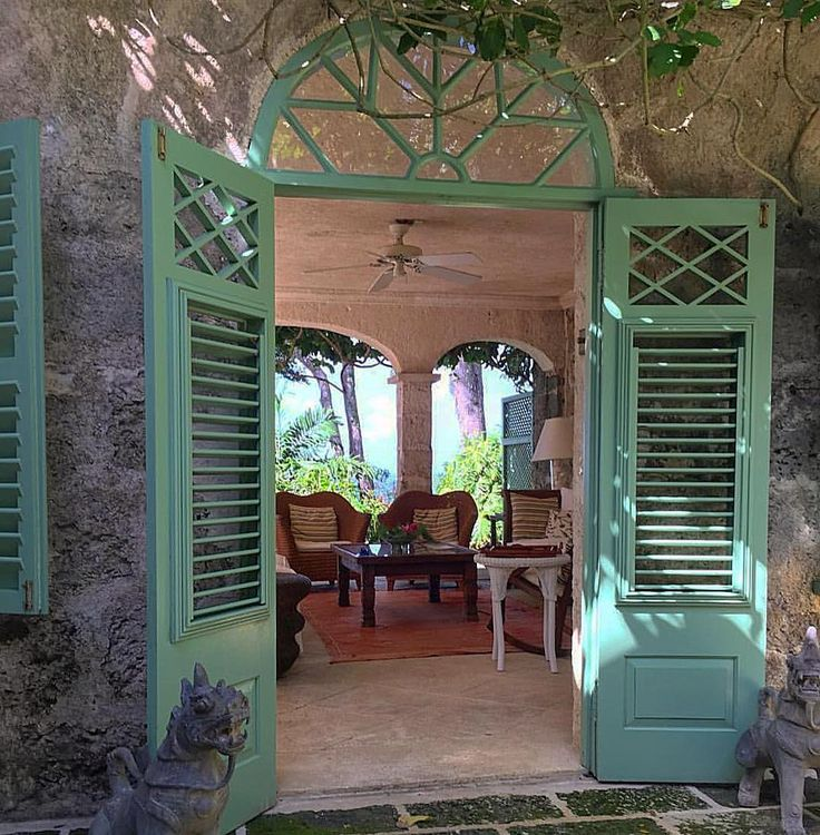 Tropical Style ~Oliver Messel's Fusic House  #olivermessel #architecture #design #breezy #lux #colour #decor #designer #elegant #garden #home #holiday #interior #interiordecor #luxury #living #lifestyle #style #stylish #tropics #chic #doorway ##shutters #vacation #warm