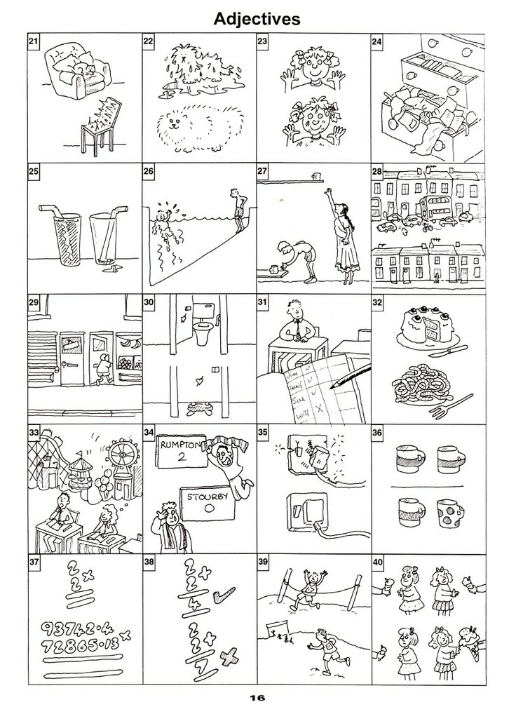 Vocabulary building pictures about various adjectives one can use to describe an object.