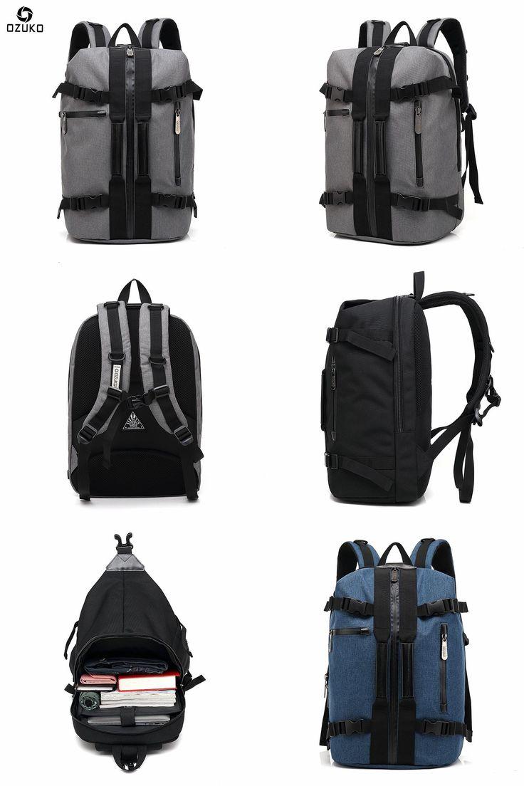 [Visit to Buy] OZUKO Brand Men's Travel Backpacks 15.6 inch Laptop Shoulder Bag Male Portable dual-use Waterproof Oxford Multifunction Rucksack #Advertisement