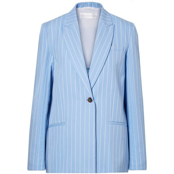 Victoria, Victoria BeckhamPinstriped Cotton-twill Blazer ($685) ❤ liked on Polyvore featuring outerwear, jackets, blazers, light blue, pinstripe jacket, blue jackets, blue pinstripe jacket, blue pinstripe blazer and cotton twill jacket