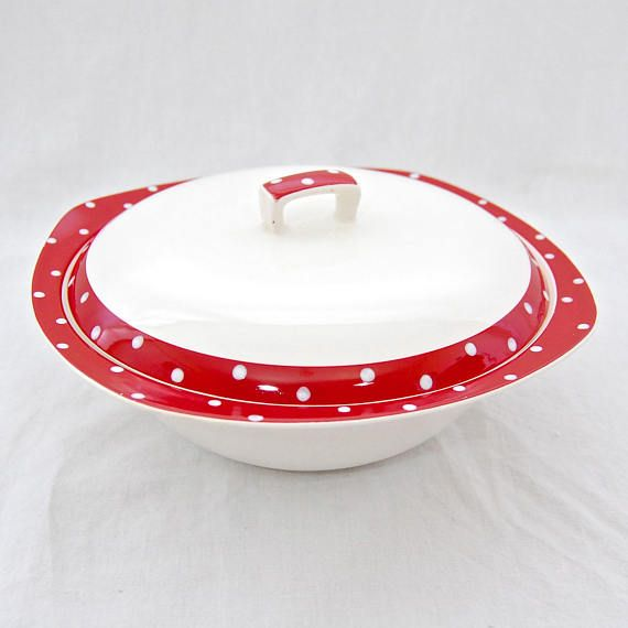 MidCentury Vintage Midwinter 'Red Domino' by Jessie Tait - Lidded Tureen