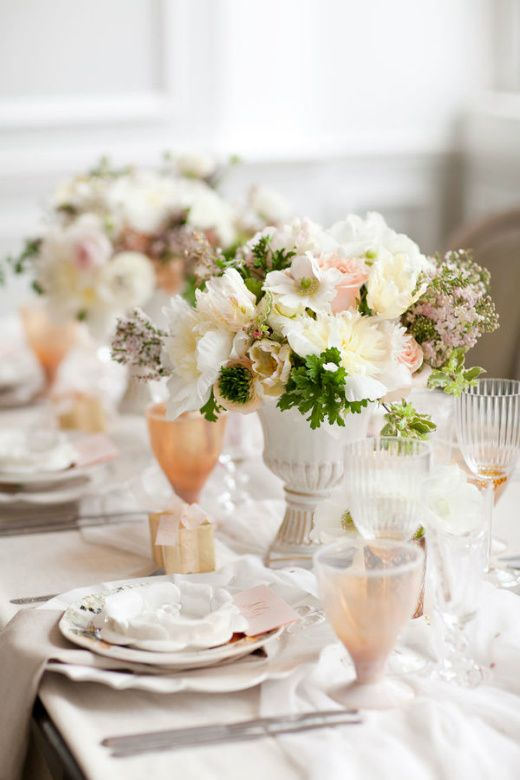 Vintage New York Flair in Creamy Neutrals, colors - muted gold, neutrals and blush hues, images from Style Me Pretty.