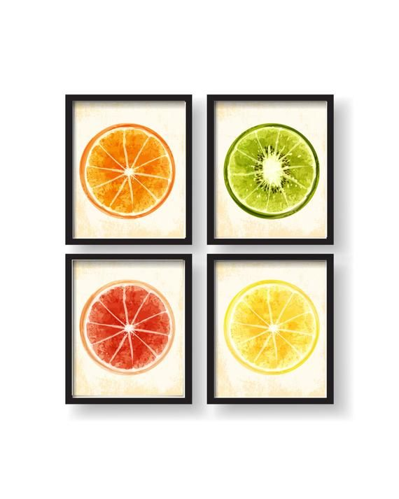 Watercolor Dining Room Art Fruit Wall Decor Fruit Kitchen Wall