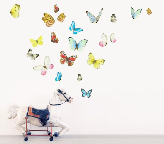 Charming Butterflies Wall Stickers, Watercolor Butterflies Fabric Wall Decals ( Not  Vinyl, PVC Free) Ideas