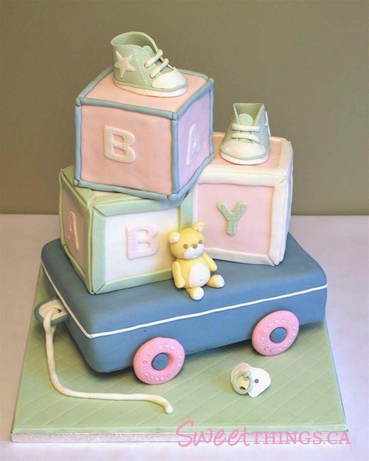 Blocks: Blocks Cakes, Baby Shower Cakes Decor, Cakes Ideas, Wagon Cakes, Baby Blocks, Shower Theme, Cakes Baby Shower, Baby Shower Cakes For A Boys, Baby Cakes