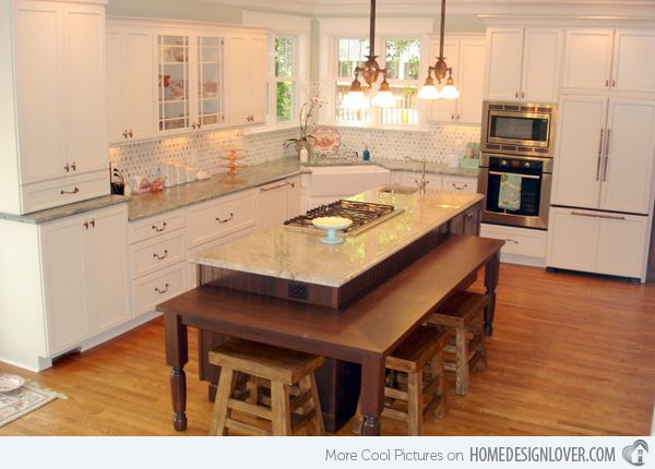 15 Beautiful Kitchen Island with Table Attached  Ideas