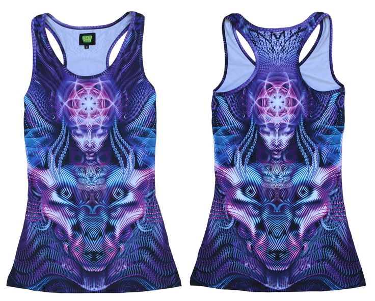 "Sublime Tank Girl : Violet Foxy Lady  The Space Tribe racerback mini-dress / long vest that will really grab people's attention.  Slinky stretch polyester lycra fabric (82% polyester, 18% spandex)  Printed using sublimation printing technology.   This allows for extremely vibrant colors that will never fade away no matter how many times it gets washed, & results in an extremely soft ""feel"" to the top for ultimate comfort.  Artwork by Luke Brown"