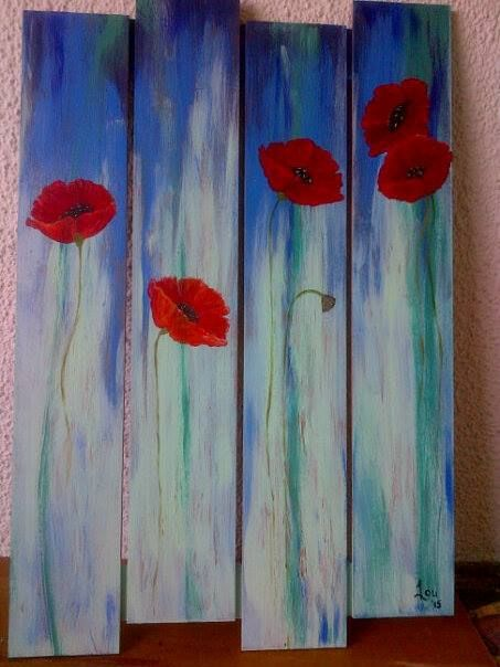 Poppies on pallet canvas