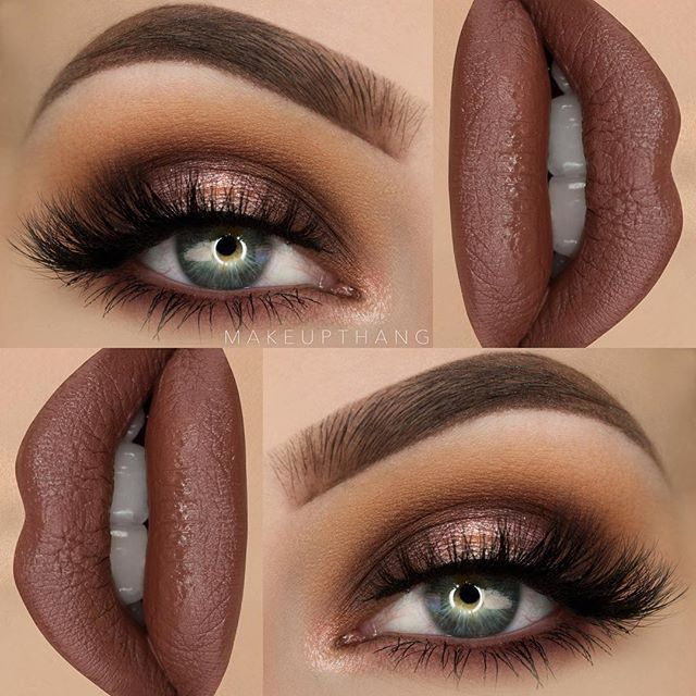 """My first fall look! I really love brown shades  --- BROWS: @anastasiabeverlyhills Dipbrow Pomade """"Chocolate"""" ✨ --- EYES: @morphebrushes """"35O"""" eyeshadow palette for the entire eye look ✨ @yourlashesofficial """"Aria"""" lashes ✨ --- LIPS: @hudabeauty @shophudabeauty Liquid Matte """"Spice Girl"""" ✨ #makeupthang #anastasiabeverlyhills #anastasiabrows #morphegirl #hudabeauty"""
