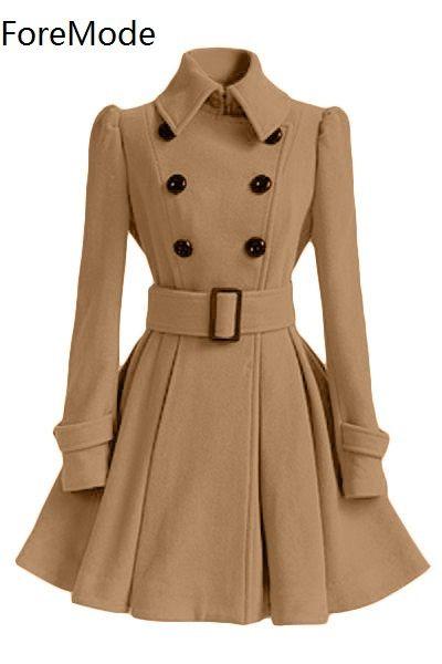ForeMode Winter Gesp Mid-Lange Trenchcoat Double-Breasted Jas Lange Mouw Casual Jurken Lange Trenchcoat voor Vrouwen