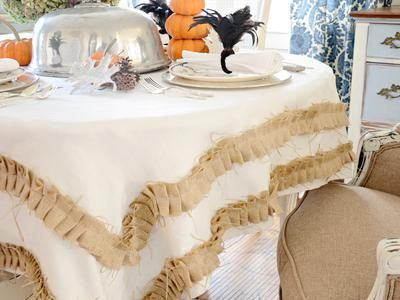 Beautiful Make A Rustic Tablecloth With Ruffled Burlap Trim