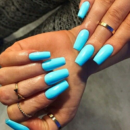 Bright Blue Nail Design: Bright blue nails with pink rhinesones at ...
