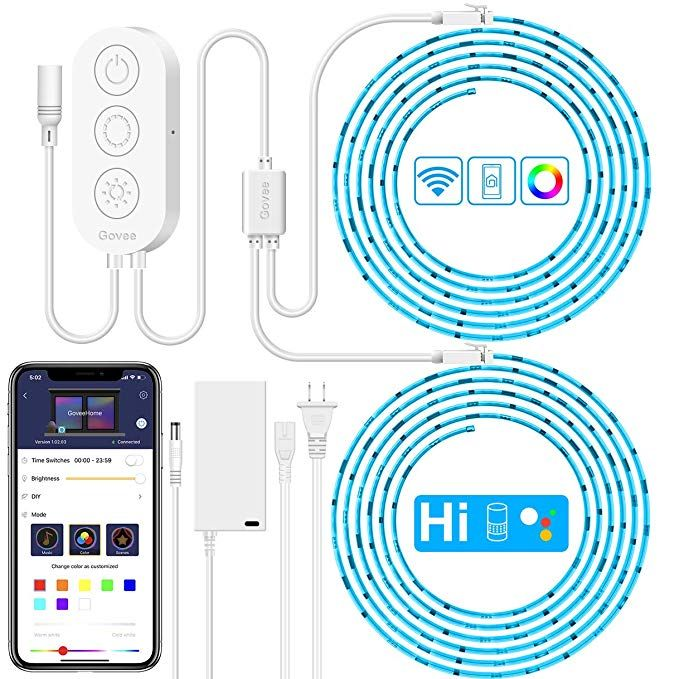 Amazon Com Govee Smart Wifi Led Strip Lights Works With Alexa Google Home Brighter 5050 Led 16 Million Colors App Control Led Strip Lighting Strip Lighting