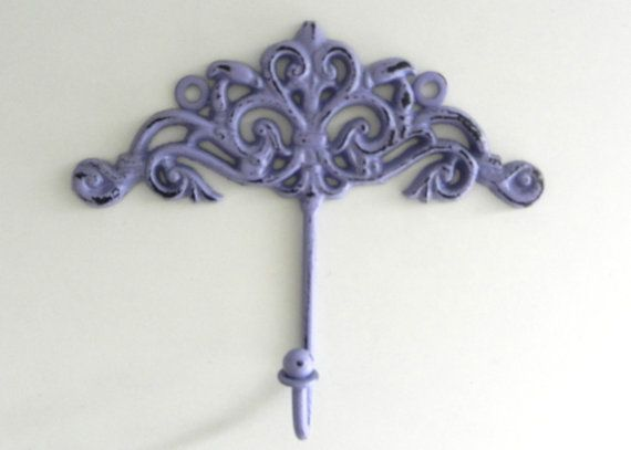 Purple Decorative Wall Hook  Shabby Chic Wall by juxtapositionsc, $14.00