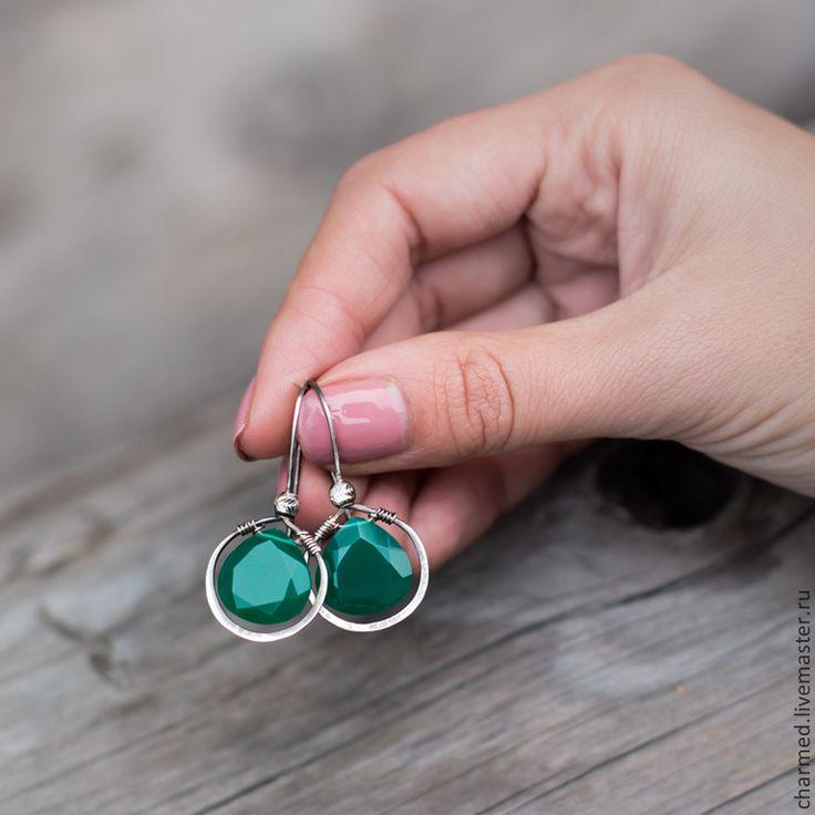 Купить Серьги из серебра и зеленого оникса - зеленый, изумрудный, зеленые серьги, зеленый оникс серьги