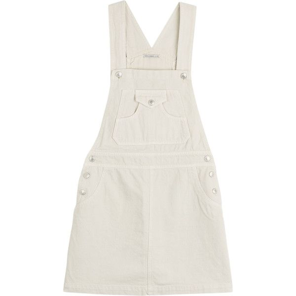 Adriano Goldschmied by Alexa Chung Gillian Denim Dungaree Dress ($175) ❤ liked on Polyvore featuring dresses, overalls, bottoms, dungarees, none, retro jerseys, white jersey, ag adriano goldschmied and denim dungaree